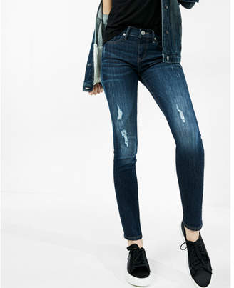 Express Mid Rise Distressed Stretch Super Skinny Jeans $79.90 thestylecure.com