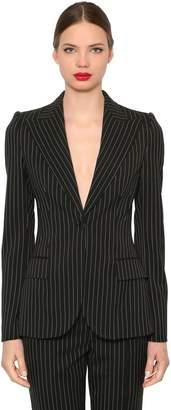 Dolce & Gabbana Pinstriped Stretch Cool Wool Blazer