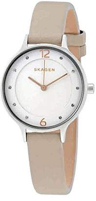 Skagen Women's Anita Quartz Stainless Steel and Leather Casual Watch
