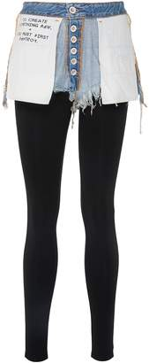 Taverniti So Ben Unravel Project Slogan print reversed denim shorts waist panel leggings