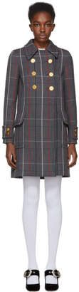 Miu Miu Grey Wool Plaid Coat