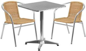 Flash Furniture 23.5'' Square Aluminum Indoor-Outdoor Table with 2 Rattan Chairs, Multiple Colors