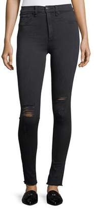 Rag & Bone High Rise Skinny Jeans W/ Knee Rip