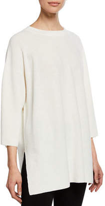 Eileen Fisher 3/4-Sleeve Stretch Crepe Tunic Sweater