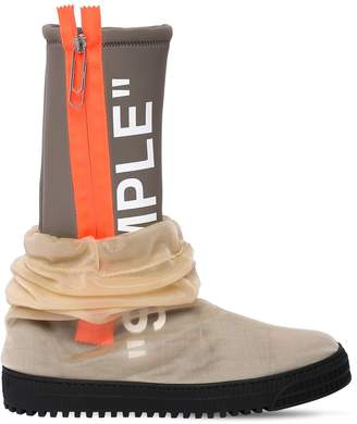 """Off-White """"Sample"""" Neoprene & Tulle Rain Boots"""