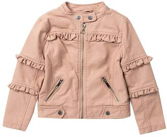 Urban Republic Faux Leather Ruffled Jacket (Toddler Girls)