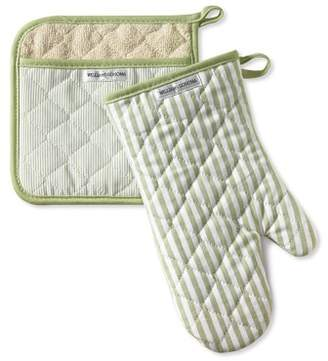 Williams-Sonoma Williams Sonoma Bay Stripe Mitt & Potholder Set, Sage Green
