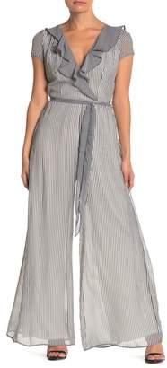Gabby Skye Striped Ruffle Chiffon Jumpsuit
