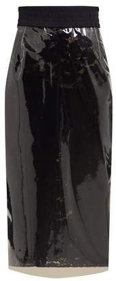 No.21 No. 21 - High Rise Lace & Pvc Pencil Skirt - Womens - Black