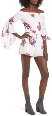 Women's Socialite Off The Shoulder Bell Sleeve Romper $55 thestylecure.com