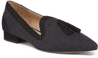 Pointy Toe Tassel Suede Loafers