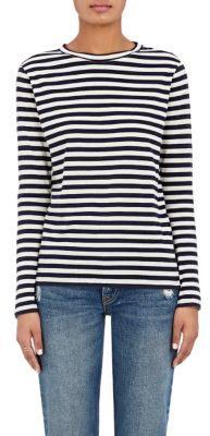 Barneys New York Women's Striped Cotton Jersey Long-Sleeve T-Shirt-NAVY $145 thestylecure.com