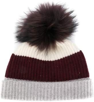 b01f55a3f7a3c3 N.Peal pom-pom colour block beanie hat