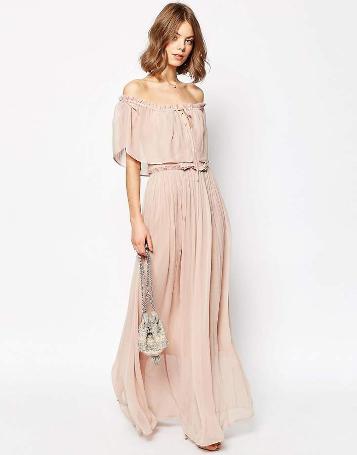 Asos ASOS Ruffle and Tiered Off Shoulder Maxi Dress