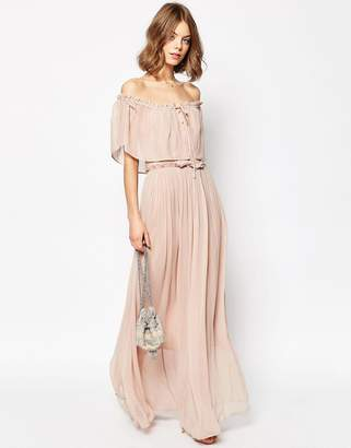 ASOS Ruffle and Tiered Off Shoulder Maxi Dress $98 thestylecure.com