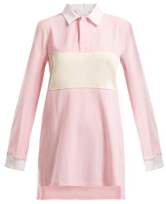 Koché Koche - Satin Trimmed Oversized Cotton Shirt - Womens - Pink White