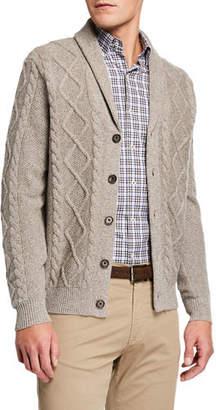 Neiman Marcus Men's Melange Cable-Knit Cardigan Sweater