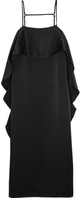 Elizabeth and James - Marlee Ruffled Satin Dress - Black $395 thestylecure.com