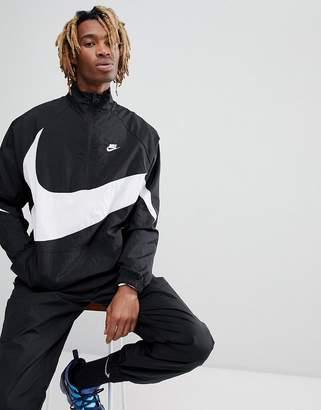 Nike Vaporwave Packable Half Zip Jacket With Large Swoosh In Black Aj2696-010