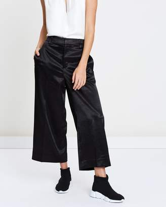 Vince Metallic Satin Crop Wide Leg Pants