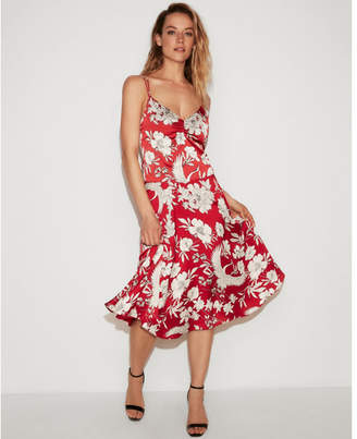 Express super high waisted floral bird midi skirt