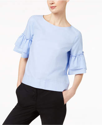Marella Cotton Oxford Ruffled Button-Back Top