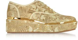 Tory Burch Arden Beige and Gold Embroidered Brocade Platform Oxford Shoes