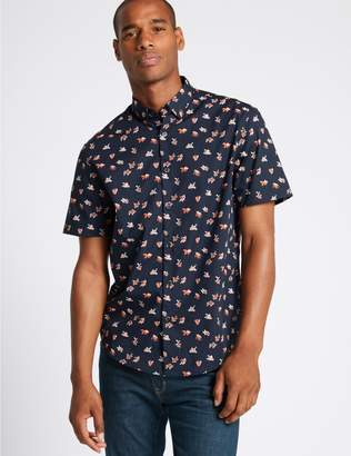 Marks and Spencer Pure Cotton Fish Print Shirt