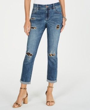 INC International Concepts Inc Destructed Animal-Print Curvy-Fit Boyfriend Jeans, Created for Macy's