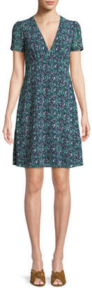 MICHAEL Michael Kors Paisley V-Neck Short-Sleeve Dress