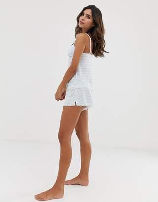 Dorina Romy modal lace trim pyjama shorts in blue stripe
