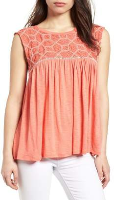 Caslon Mix Lace Knit Tank (Regular & Petite)