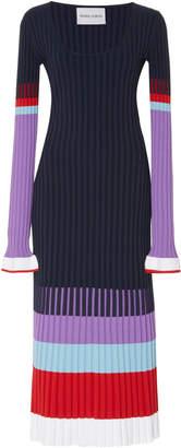 Prabal Gurung Long Sleeve Ribbed Knit Midi Dress
