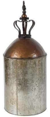 A&B Home Lidded Metal Canister Jar Crown Design