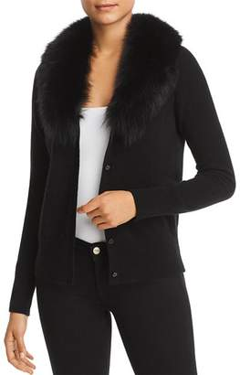 Bloomingdale's C by Fox Fur-Collar Cashmere Cardigan - 100% Exclusive