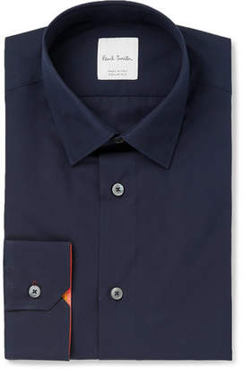Paul Smith Navy Slim-Fit Cotton-Poplin Shirt - Navy