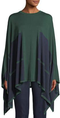 Piazza Sempione Bicolor Wool-Silk Knit Poncho w/ Underpinning 2-Way
