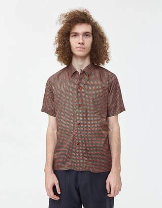 Beams Short Sleeve B.D. Geometric Print Shirt in Burgundy