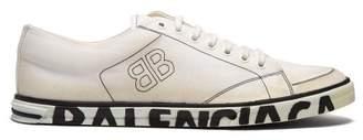 Balenciaga Distressed Logo Sole Canvas Trainers - Mens - White