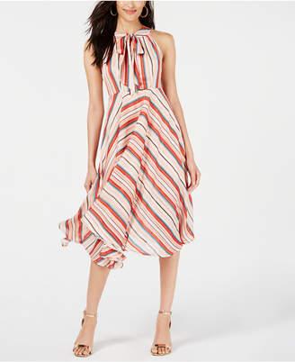 Foxiedox Tie-Neck Striped Midi Dress