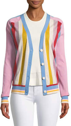 Diane von Furstenberg Long-Sleeve Colorblock Cardigan