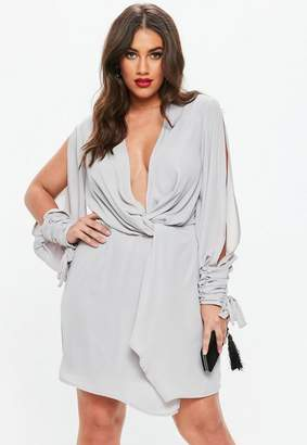 Missguided Curve Grey Twist Front Tie Cuff Dress