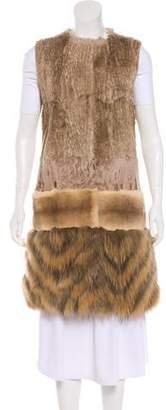 Giambattista Valli Button-Up Fur Vest