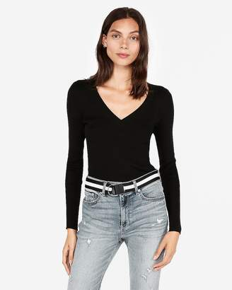 Express Ribbed V-Neck Sweater