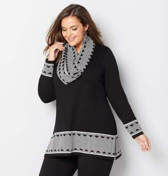Avenue Chevron Pullover Sweater with Scarf