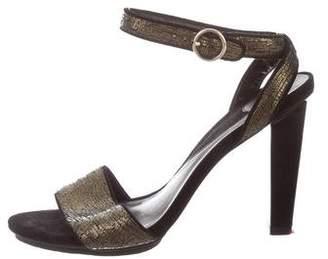 Diane von Furstenberg Metallic Suede Ankle Strap Sandals