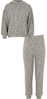 River Island Girls grey pearl embellished hoodie outfit