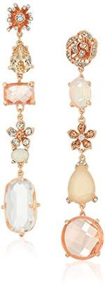 Badgley Mischka Womens Asymmetrical Blush Crystal Linear Drop Earrings
