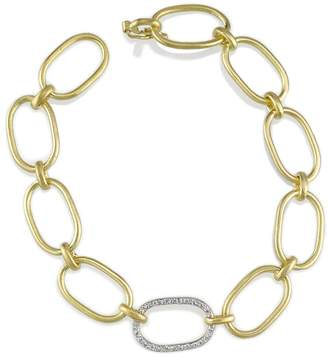 Irene Neuwirth Large Link Bracelet with Pave Diamond Link - Yellow Gold