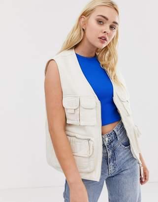 Pull&Bear multi pocket vest in beige